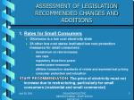 assessment of legislation recommended changes and additions