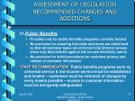 assessment of legislation recommended changes and additions10