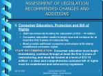 assessment of legislation recommended changes and additions2