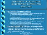 assessment of legislation recommended changes and additions4