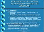 assessment of legislation recommended changes and additions9