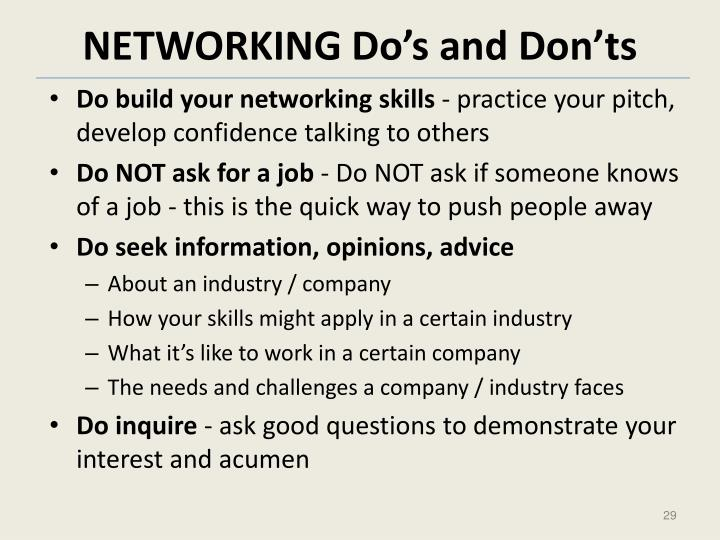 NETWORKING Do's and Don'ts