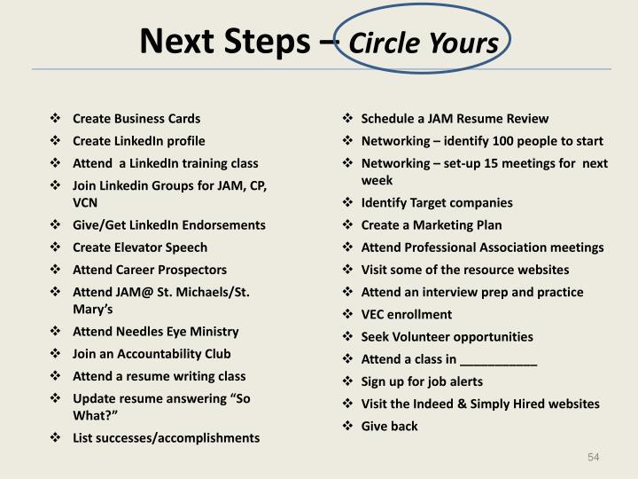 Next Steps –