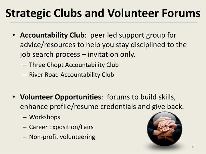 Strategic Clubs and Volunteer Forums