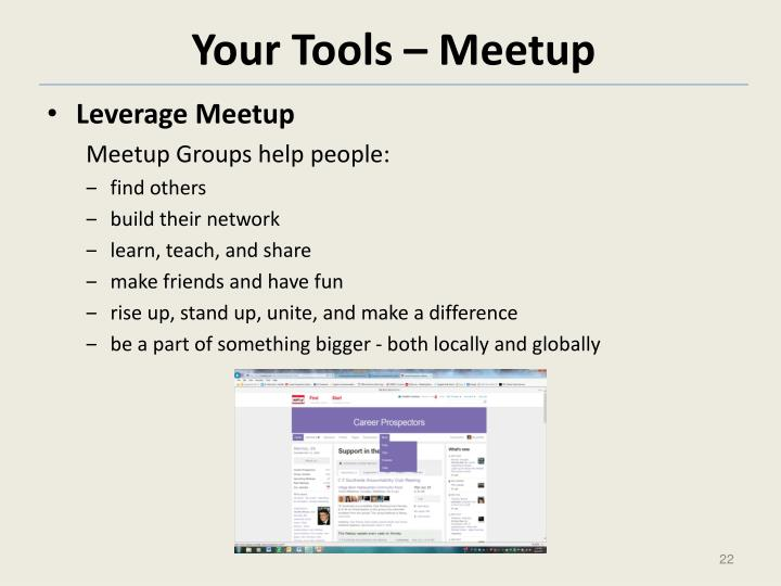 Your Tools – Meetup