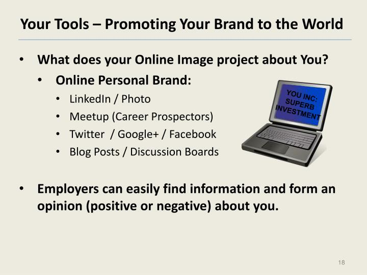 Your Tools – Promoting Your Brand to the World