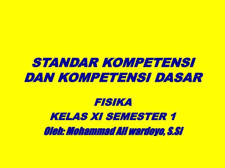 standar kompetensi dan kompetensi dasar n.