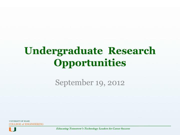 undergraduate research opportunities n.