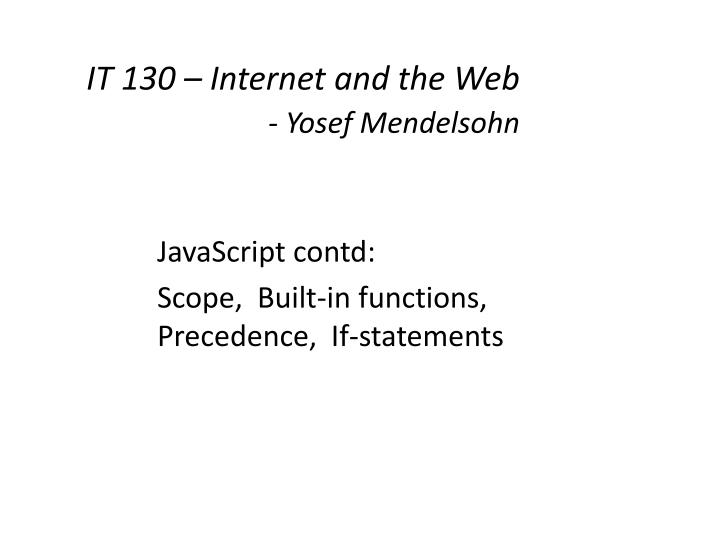 it 130 internet and the web yosef mendelsohn n.