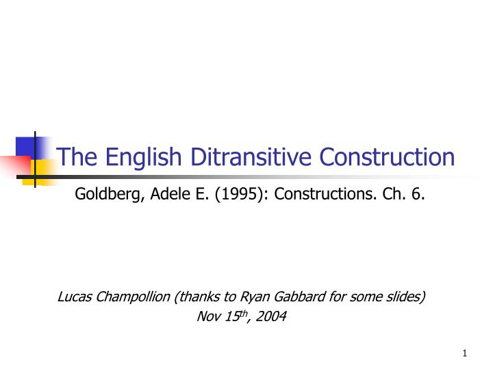 the english ditransitive construction n.