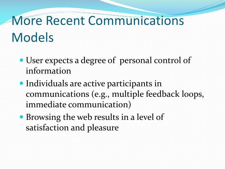 More Recent Communications Models