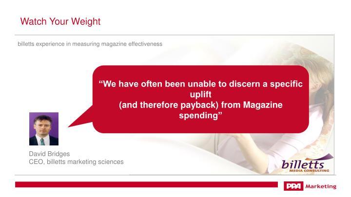 billetts experience in measuring magazine effectiveness