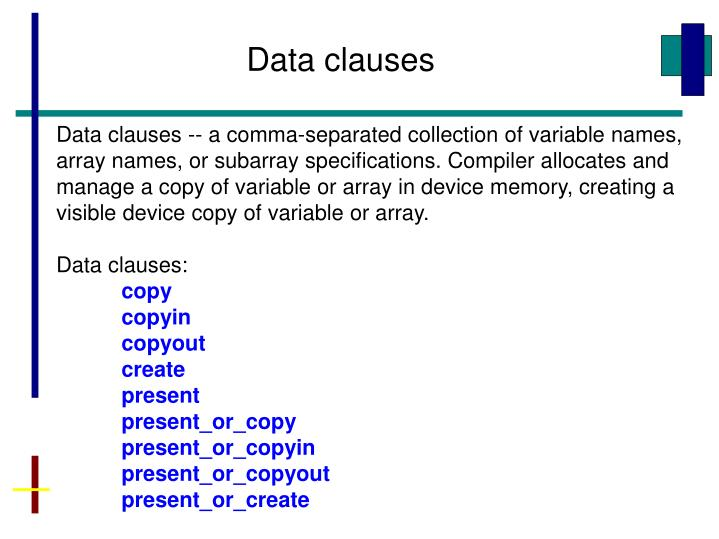 Data clauses