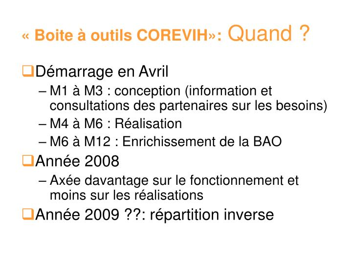« Boite à outils COREVIH»: