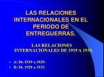 las relaciones internacionales en el periodo de entreguerras