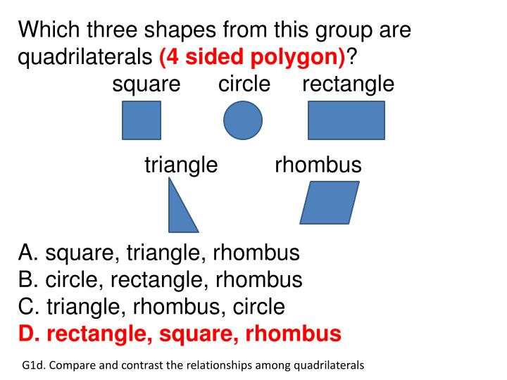 Which three shapes from this group are quadrilaterals