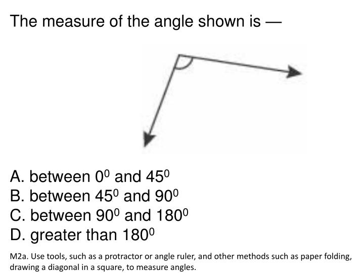 The measure of the angle shown is —