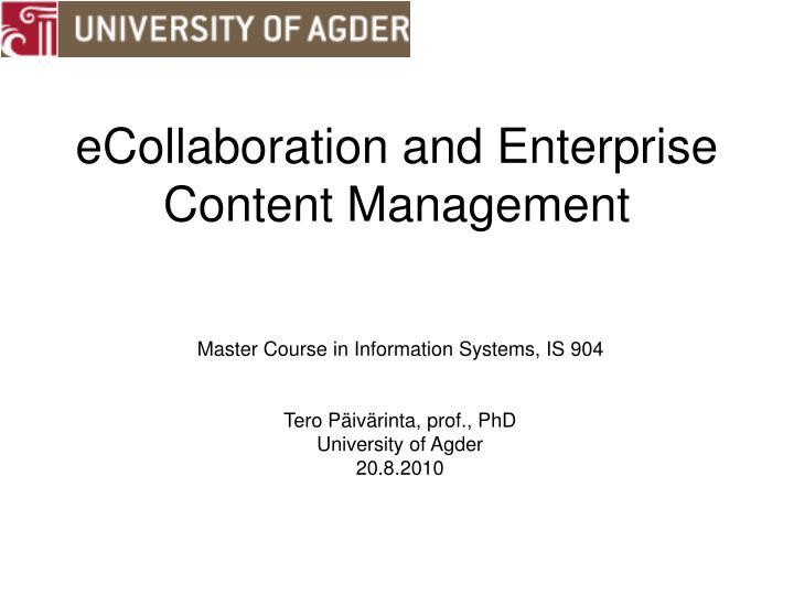 ecollaboration and enterprise content management n.