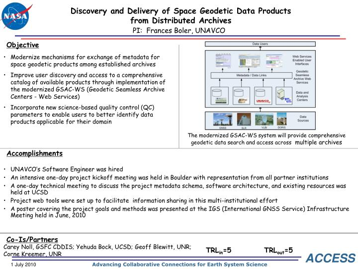 discovery and delivery of space geodetic data products from distributed archives n.