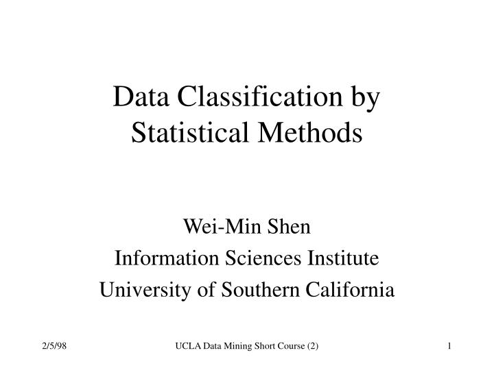 data classification by statistical methods n.