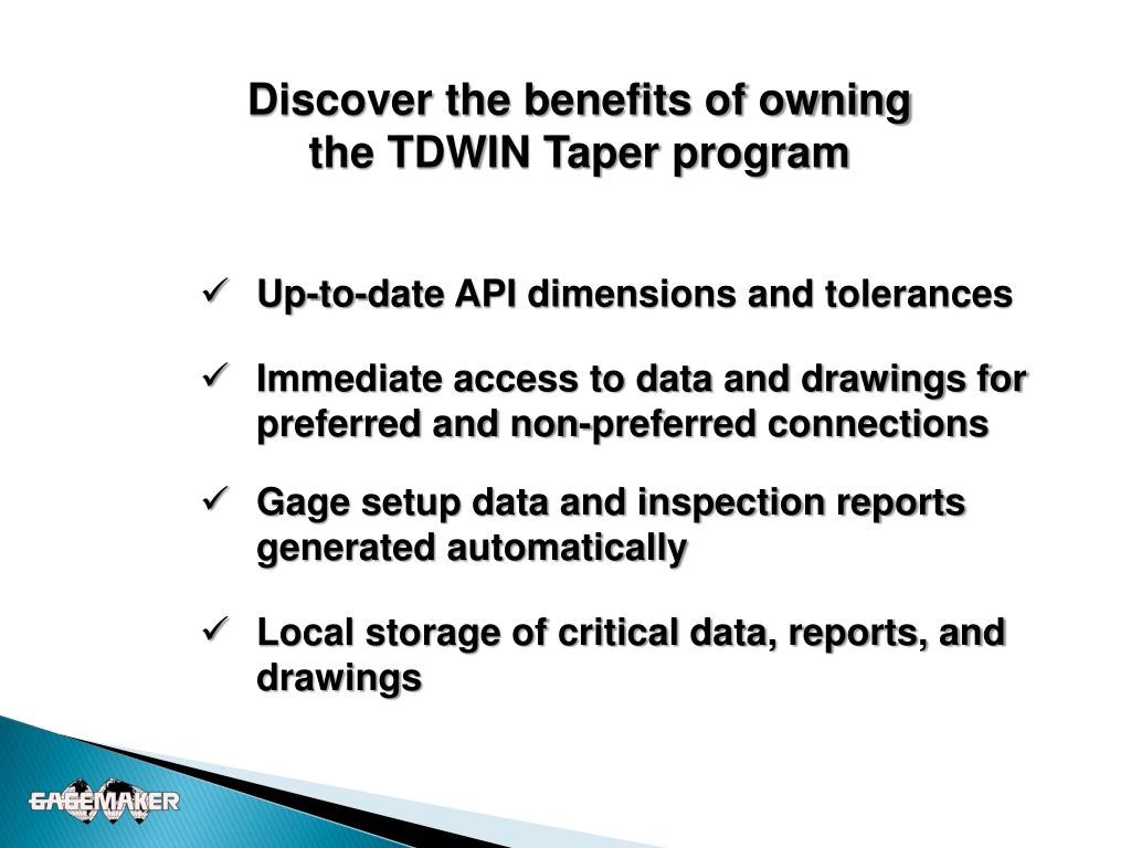 PPT - Introducing Gagemaker's TDWIN Taper PowerPoint