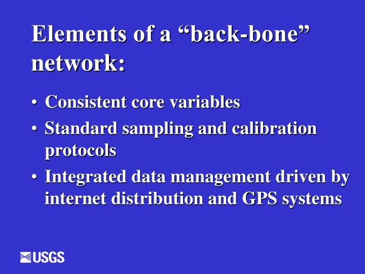 Elements of a back bone network