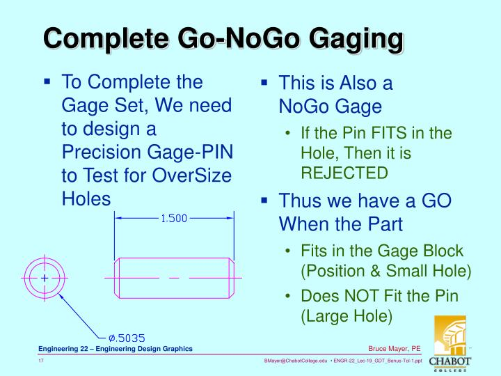 To Complete the Gage Set, We need to design a Precision Gage-PIN to Test for OverSize Holes