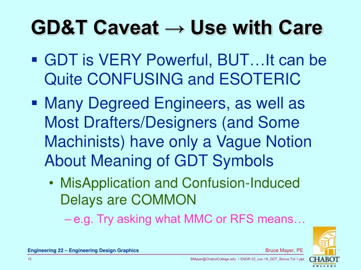 GD&T Caveat → Use with Care