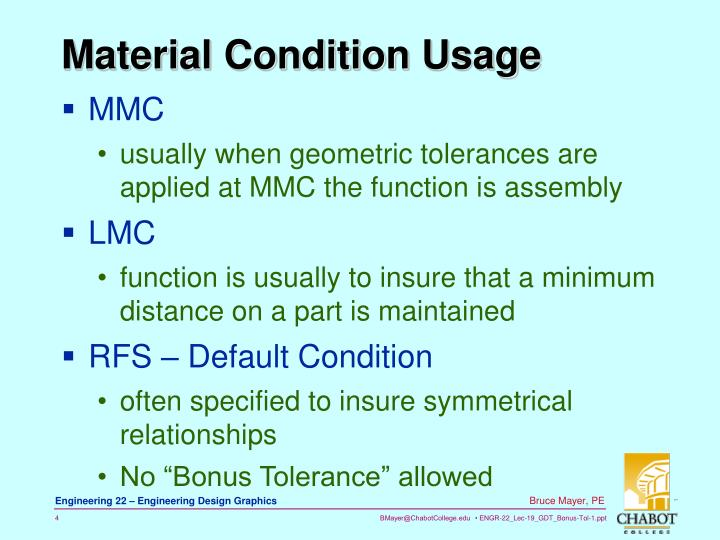 Material Condition Usage