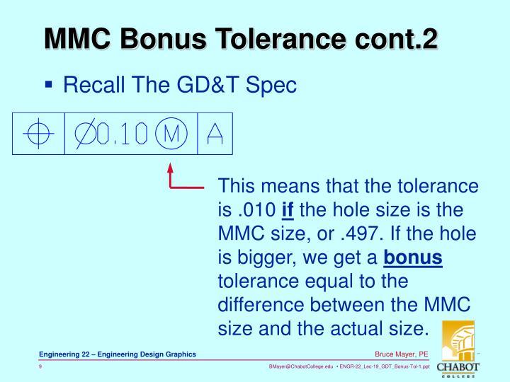 MMC Bonus Tolerance cont.2