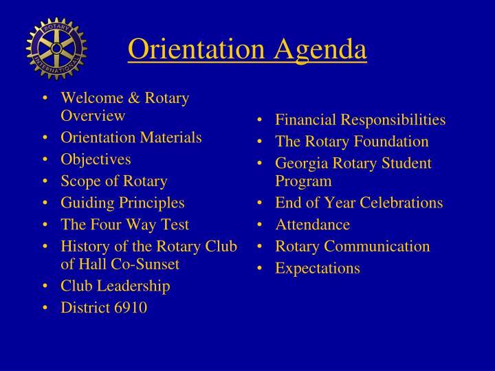 Orientation agenda