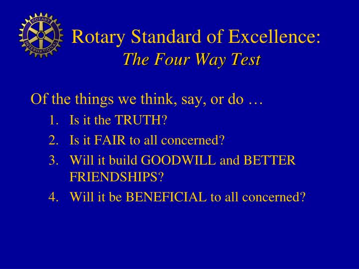 Rotary Standard of Excellence: