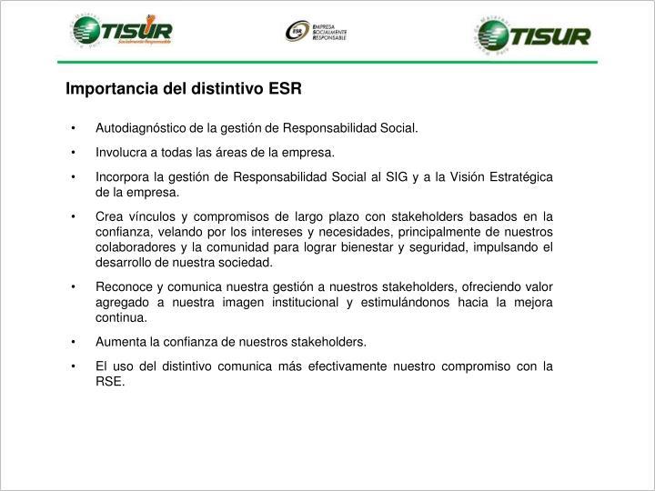 Autodiagnóstico de la gestión de Responsabilidad Social.