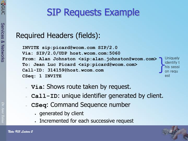 SIP Requests Example