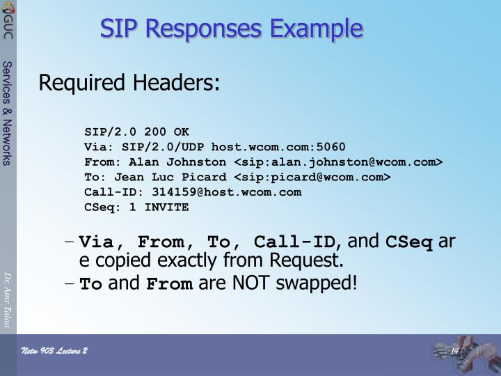 SIP Responses Example