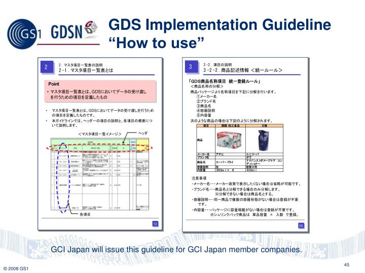 "GDS Implementation Guideline ""How to use"""