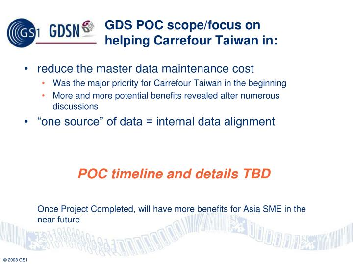 GDS POC scope/focus on