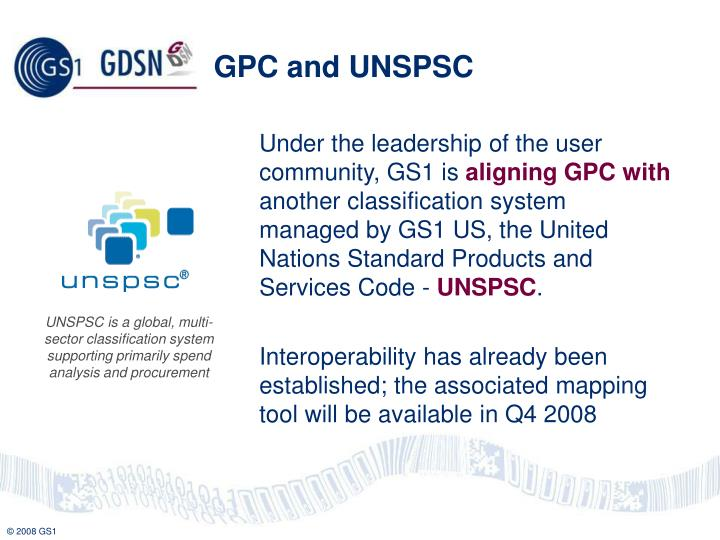 GPC and UNSPSC