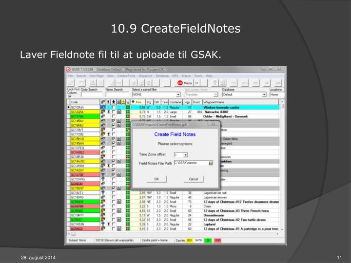 10.9 CreateFieldNotes