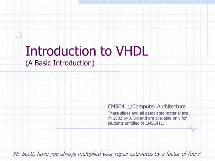 introduction to vhdl a basic introduction n.