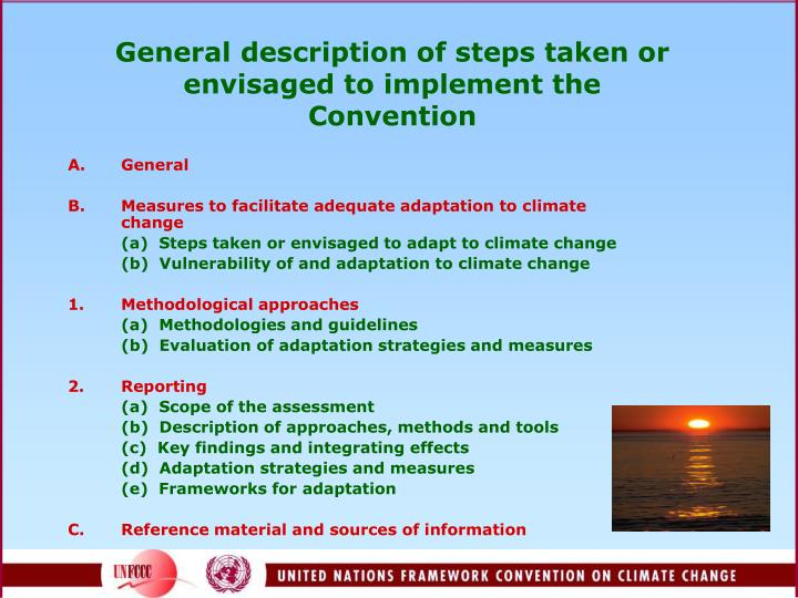 General description of steps taken or envisaged to implement the convention