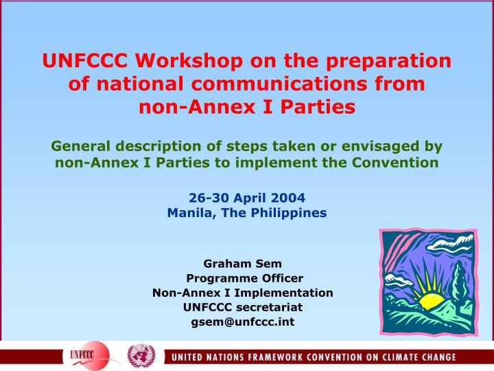 UNFCCC Workshop on the preparation of national communications from