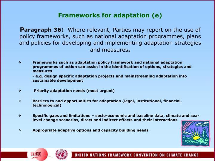 Frameworks for adaptation (e)