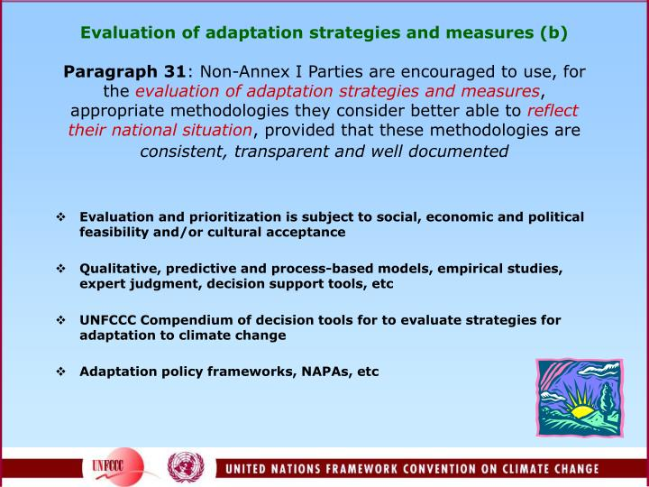 Evaluation of adaptation strategies and measures (b)