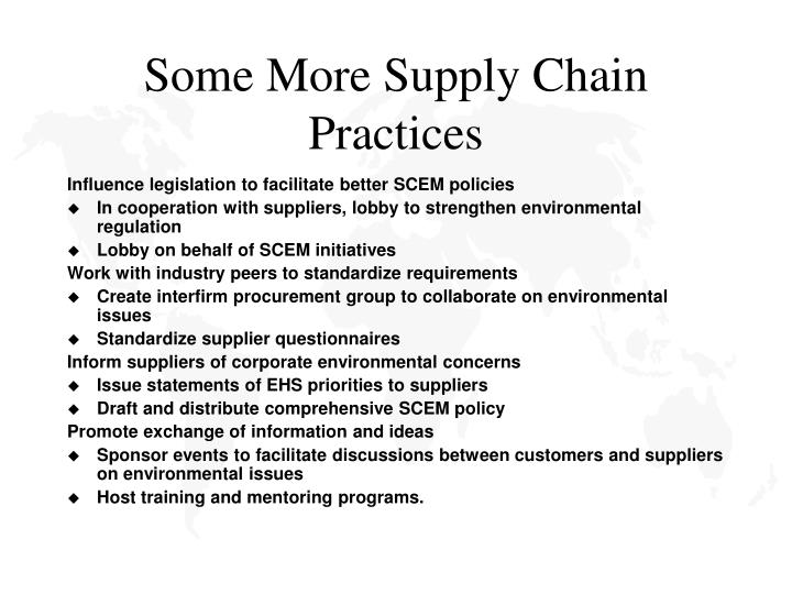Some More Supply Chain Practices