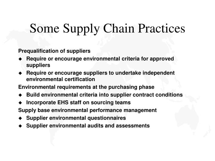 Some Supply Chain Practices