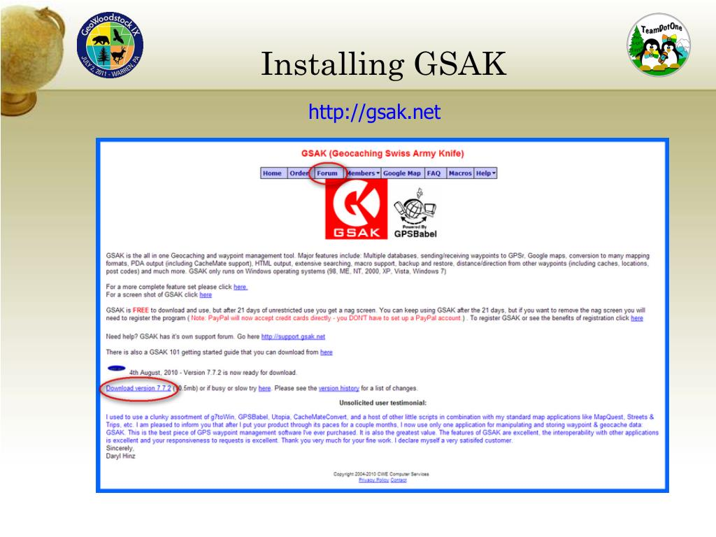 PPT - A GSAK Introduction (Geocaching Swiss Army Knife