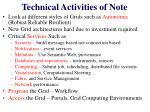 technical activities of note
