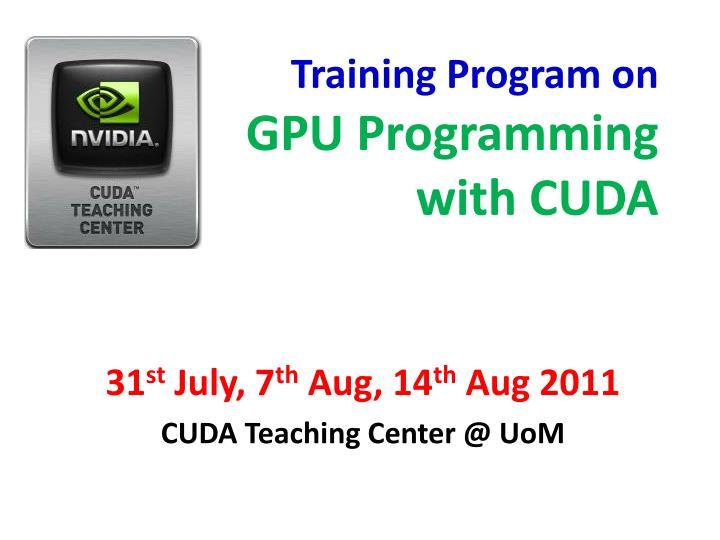 training program on gpu programming with cuda n.