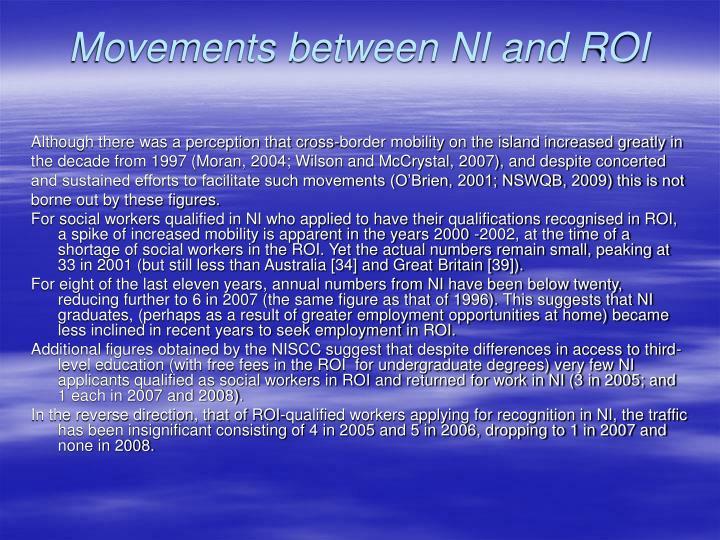 Movements between NI and ROI